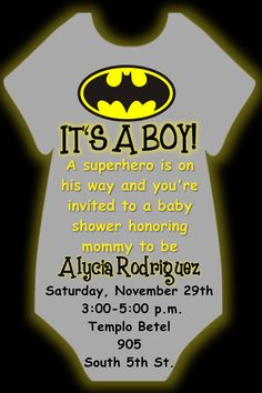 Batman Onesie Baby Shower Invitation In 4x6 If You Wish To Order This Or  Any Other
