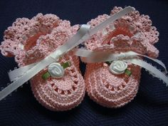 Booties*crocheted Victorian Style White Roses . Made with pink color crochet thread, size 10. Accented with white color ribbon and ribbon rose flowers.