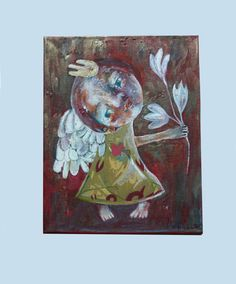 Folk art painting, angel painting, Whimsical art, outsider art, Primitives, painting on canvas, abstract angel, mini painting, Original art, Angel Folk art painting, folk angel painting, naive art, primitive painting, folk art by Mariya Chimeva