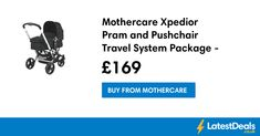 Mothercare Xpedior Pram and Pushchair Travel System Package - Black, £169 at Mothercare