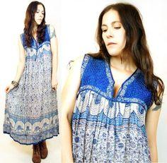Vtg 70s INDIA Ethnic PEACOCK Sheer METALLIC Cotton GAUZE Festival MAXI Dress