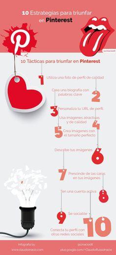 10 estrategias a destacar en Pinterest. Infografía en español. #CommunityManager
