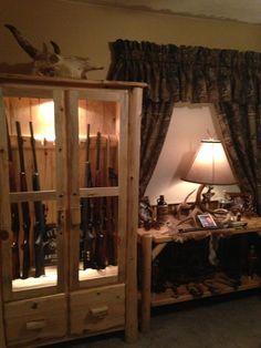Rustic Log Gun Cabinet