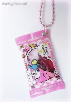My Melody Kawaii Candy Pendant on Pink Ball Chain. The candy is non - edible and calorie-free. Pink Ball Chain Necklace Length: 68 cm (26.5 inches). Candy: 2,4 x 1,3 inches (approx 6 x 3 cm)