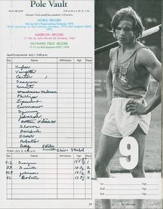 Results of Pole Vault in 1972 Olympic Trials at Hayward Field. ©University of Oregon Libraries - Special Collections and University Archives