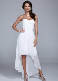 Ideal for an easy breezy wedding, this light and airy high low dress is a winner!  Strapless bodice features ultra-feminine sweetheart neckline.   High low silhouette with split front detail is flattering and right on trend.  Fully lined. Back zip. Imported polyester. Dry clean.  To protect your dress, try our Non Woven Garment Bag.