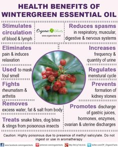 The health benefits of Wintergreen Essential Oil can be attributed to its properties like analgesic, anodyne, anti rheumatic & antiarthritic, antispasmodic, anti septic, aromatic, astringent, carminative, diuretic, emenagogue and stimulant.	The Oil of Wintergreen is a world famous name. It is more popular with the people suffering from rheumatism, arthritis, gout and pain in bones and joints due to other reasons. This oil can be found in almost every household. This oil is easily availab...