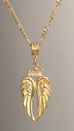 Necklace - Angels Wings with Diamond Crown