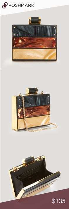 Halston PLAQUE MINAUDIARE clutch A trio of fiery metals frame the season's new shape for evening, complete with a luxurious leather HALSTON closure and optional chain. Never used. Halston Heritage Bags Clutches & Wristlets