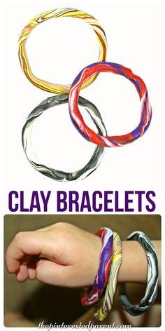 Easy to make clay bangle bracelet craft for kids . Polymer arts