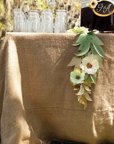 Love the paper flower swag! flowers, wedding style, decor, rustic, floral, centerpieces, poppy, linen, real, glamorous , deco, outdoor, wedding