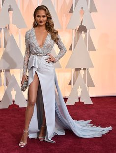 Chrissy Teigen in Zuhair Murad at the 2015 Oscars paired with Norman Silverman jewels.