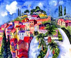 Le Coleur of the Cote by watercolour artist Sherren MacLeod ~ colorful houses