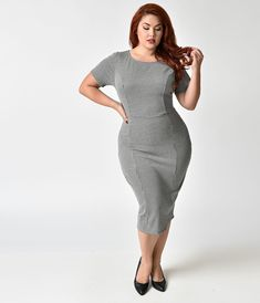 f29b614e191 Plus Size 1960s Style Black   White Houndstooth Mod Wiggle Dress