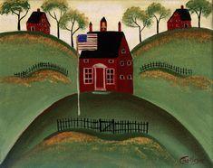 PRIMITIVE AMERICAN LITTLE RED SCHOOL HOUSE PRINT