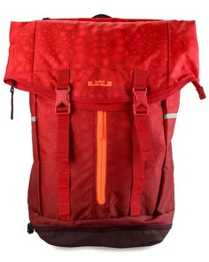 Lebron Ambassador Backpack in red by Nike. Made of polyester material with one main compartment. If you want to go on a backpack hike, this bag is the one! You can fold it and put it in your luggage too if necessary. http://www.zocko.com/z/JGrP3