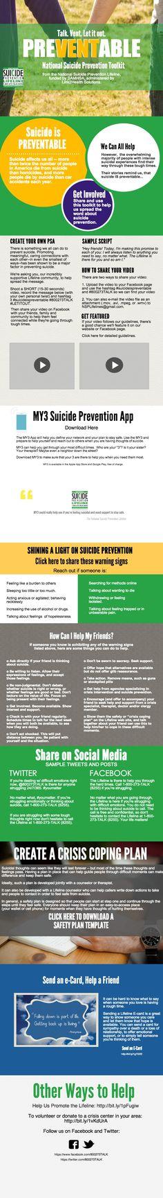 National Suicide Prevention Lifeline Toolkit | Piktochart Infographic Editor