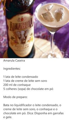 Amarula caseiro Drinks Alcohol Recipes, Wine Recipes, Alcoholic Drinks, Snack Recipes, Bar Drinks, Cocktail Drinks, Portuguese Recipes, What To Cook, Other Recipes