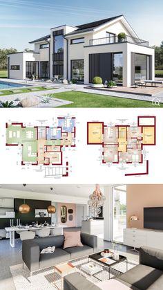 Family House Plans, Modern House Plans, House Layout Plans, Architecture Design, Plans Architecture, European House, European Style, Sims House, Family Room Design