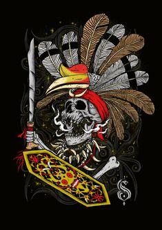 skull of dayak Samurai Tattoo, Samurai Art, Iban Tattoo, Indonesian Art, Batik Art, Batman Wallpaper, Skull Artwork, Dope Wallpapers, Borneo