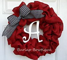 This Wreath makes a perfect gift for a wedding or baby shower, mother's day, housewarming, football season or just because. This beautiful wreath is made of Red burlap which is s woven throughout a wi