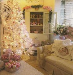 Shabby chic Christmas-- Use the pink ornaments from home to put on coffee table