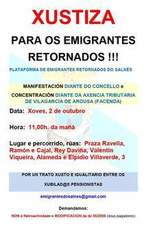 CORES DE CAMBADOS: NOVA MANIFESTACIÓN DOS EMIGRANTES RETORNADOS