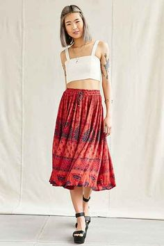 Urban Renewal Vintage Overdyed Midi Skirt - Urban Outfitters