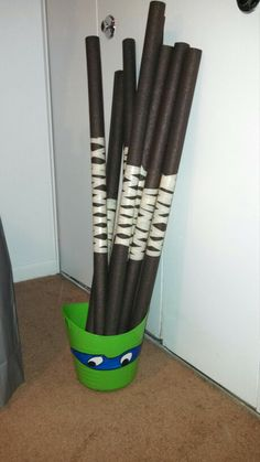 TMNT....Bo-Staff. Made w/ foam for piping, spray paint & scotch tape.