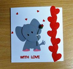 Valentine Card - Marianne Collectables Elephant Die. To purchase my cards please visit CraftyCardStudio on Etsy.com.