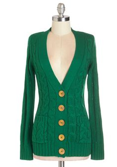 Your Fireside of the Story Cardigan in Emerald. Snuggled under the cable-knit front of this evergreen V-neck, you patiently listen to your best friend relay a tale of this weekends adventures. #green #modcloth