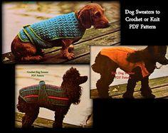 crochet manteau chien patron gratuit | Modèles de pull chien - 2 au Crochet - 1 à tricoter - PDF 01196489 ... Dog Sweaters, Crochet Patterns, Etsy, Knitting, Dogs, Animal House, Crafts, Free Crochet, Couture