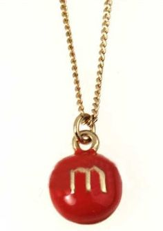 Orange M Print Beans Gold Chain Necklace