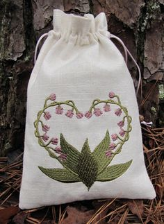Lily of the Valley Heart tarot bag, 23 usd, etsy