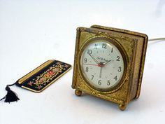 Saks Fifth Avenue Vintage Alarm Clock, Goldtone Metal Finish, Incised Flower & Foliage Design, Hollywood Regency Keeps Accurate Time, Quiet by BestChoices on Etsy