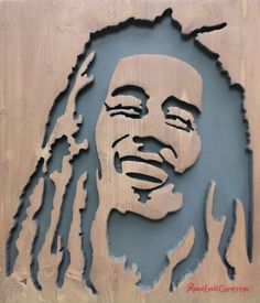 """Marley Lion "" 3D Cutout Inlay In Wood"