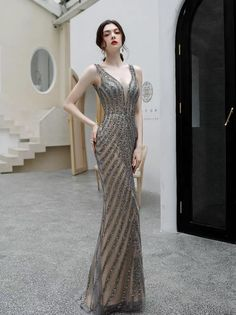 Haute couture prom dress Brown party dress deep v neck evening dress mermaid long prom dress backless formal dress sparkling tulle floor length dress Brown Party Dresses, Grey Evening Dresses, Mermaid Evening Dresses, Formal Dresses, Backless Prom Dresses, Floor Length Dresses, Color 2, Email Address, High Shoes