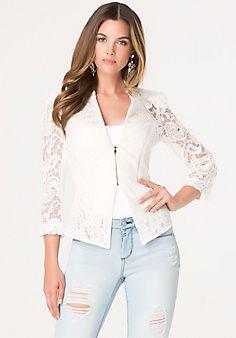 Mix Lace Peplum Jacket Style # 246214  White, $249.00