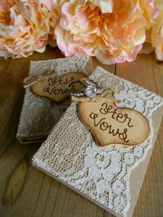 Wedding Vow Books Set of 2 Personalized Wood Heart by justforkeeps