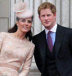 Harry and Kate on the balcony of Buckingham Palace after jubilee church services at St. Paul's