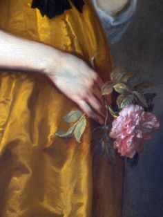 Detail) ca. 1636,Mary Villiers,Lady Herbert of Shurland by Sir Anthonis van Dyck.