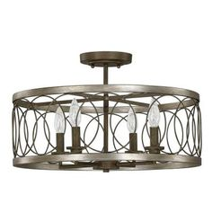 null Austin Allen & Co. 4-Light Bronze Semi-Flush Mount Light