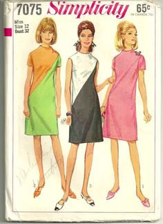 Simplicity 7075 1960s Misses Diagonal Seam Dress Pattern Womens Vintage Sewing Pattern by patterngate.com