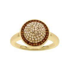 Add some shimmer to your style with our gold-plated crystal ring in warm smoky and champagne hues.