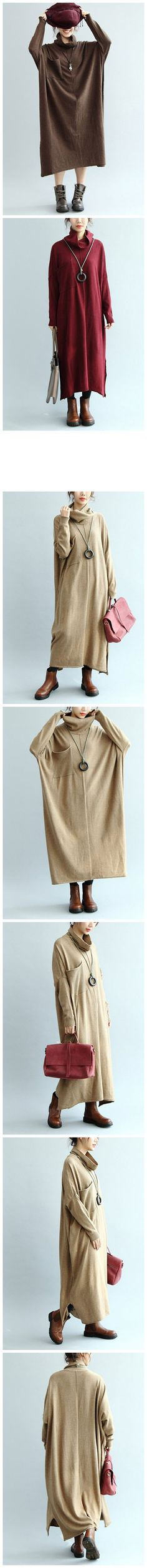 Women High Neck Sweater Dress, Maxi Raglan Sleeve Dress Q5138  Q5138Khaki