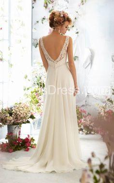 Exquisite Sleeveless V-neck Wedding Dresses with Lace Bodice