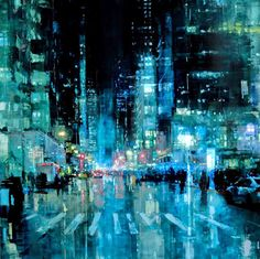 Jeremy Mann, 1979 is an American painter known for working in the Realistic style. For biographical notes on Jeremy Mann see Part Modern Portrait Artists, Modern Artists, City Painting, Oil Painting Abstract, Modern Canvas Art, Abstract Drawings, Abstract Styles, Fantasy Landscape, City Art