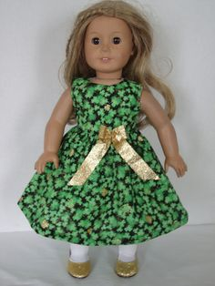 """Patrick/'s Day 18/"""" Doll Clothes Dress /& Tote Bag  St"""