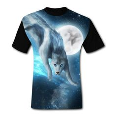 65fa959cc Mens TShirt Ice Wolf Moon Short Sleeve Casual Graphic T Shirts Tees Blouse  for Men *