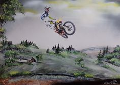 Motocross. Spray art by Ivan Perončík